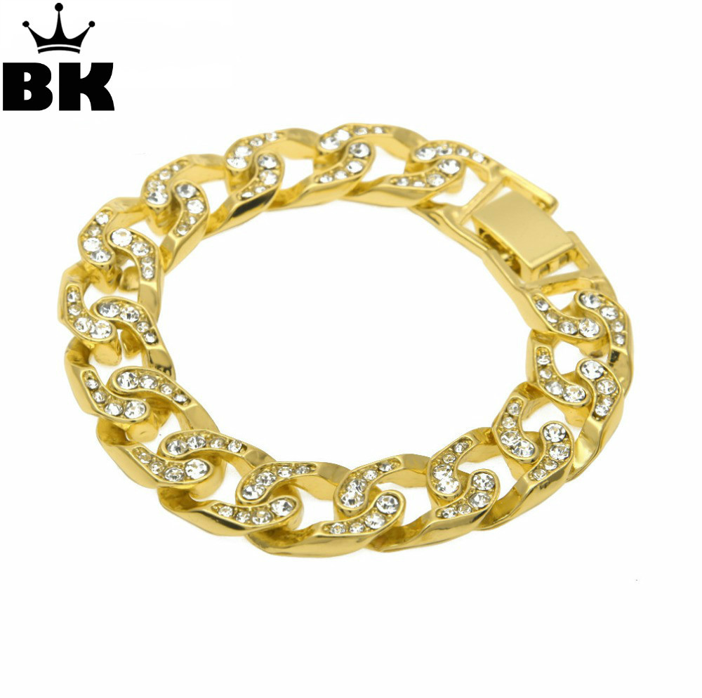 Hip Hop Men Simulated Diamonds Bracelet Cuban links & chains Silver Bracelet for Bangle Male Alloy Gold Color Accessory мобильный телефон apple iphone plus 16g 64g 128g 3g