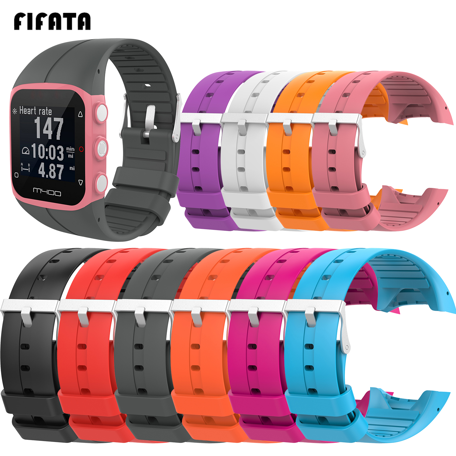 FIFATA Replacement Soft Silicone Watch Sport Band Strap For Polar M400 Band For Polar M430 Smart Watch Bracelet Wrist Strap