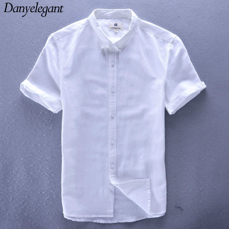 2017 New Spring and Summer Linen Shirt Male Slim Plus Size M-4XL Thin Fluid Short-sleeve Shirt Male White Top Male Shirt