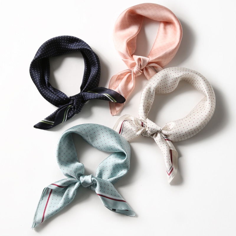 Square <font><b>Scarf</b></font> Hair Tie Band For Business Party Women Elegant Small Vintage Skinny Retro Head Neck <font><b>Silk</b></font> Satin <font><b>Scarf</b></font> 70*<font><b>70cm</b></font> image