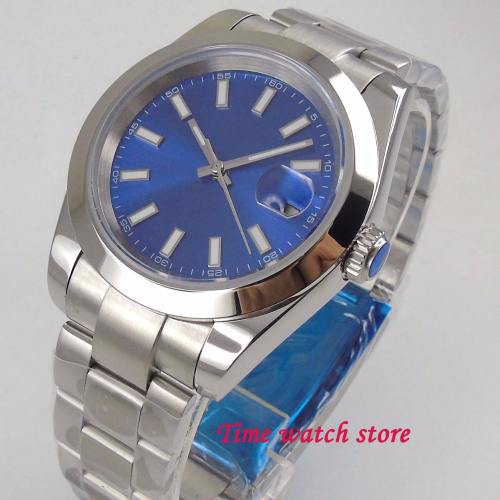 40mm Bliger Royal blue dial mens watch saphire glass date polished bezel 21 jewels MIYOTA 8215 Automatic wrist watch16140mm Bliger Royal blue dial mens watch saphire glass date polished bezel 21 jewels MIYOTA 8215 Automatic wrist watch161