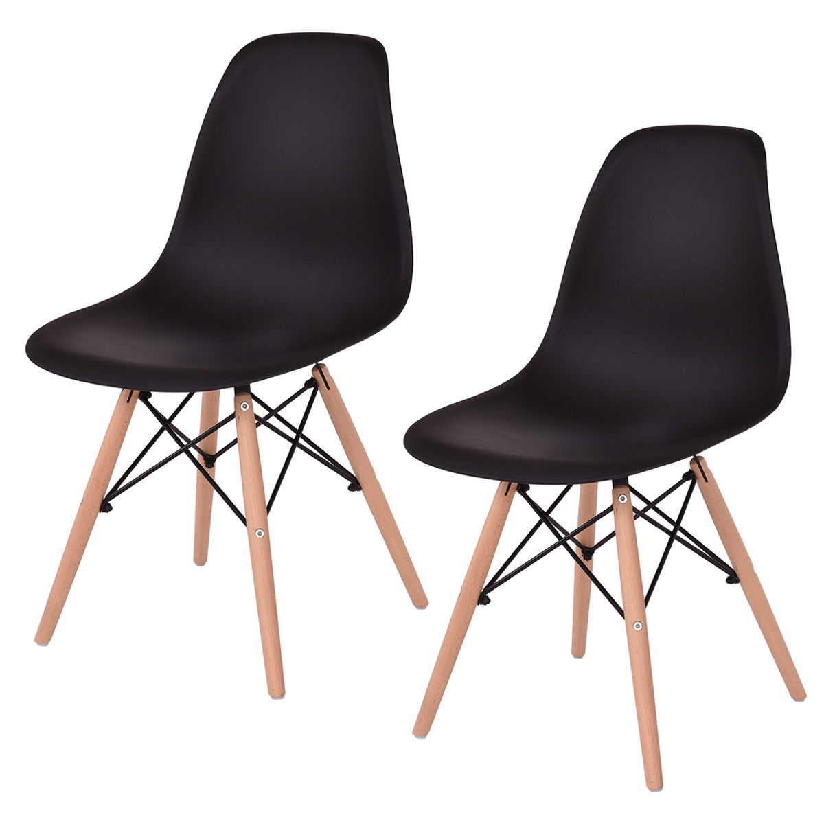 Giantex 2PCS Mid Century Modern Dining Side Chair Wood Leg Black Chairs Living Room Dining Room Furniture HW54094BK mid century presidential solid oak wood dining chair armchair upholstery seat dining room furniture modern arm chair for home