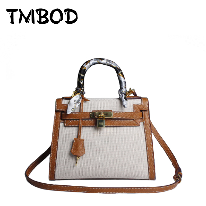 New 2017 Design Patchwork Tote with Lock Messenger Bag Women Canvas & Genuine Leather Handbags For Female Crossbody Bags an828 aosbos fashion portable insulated canvas lunch bag thermal food picnic lunch bags for women kids men cooler lunch box bag tote