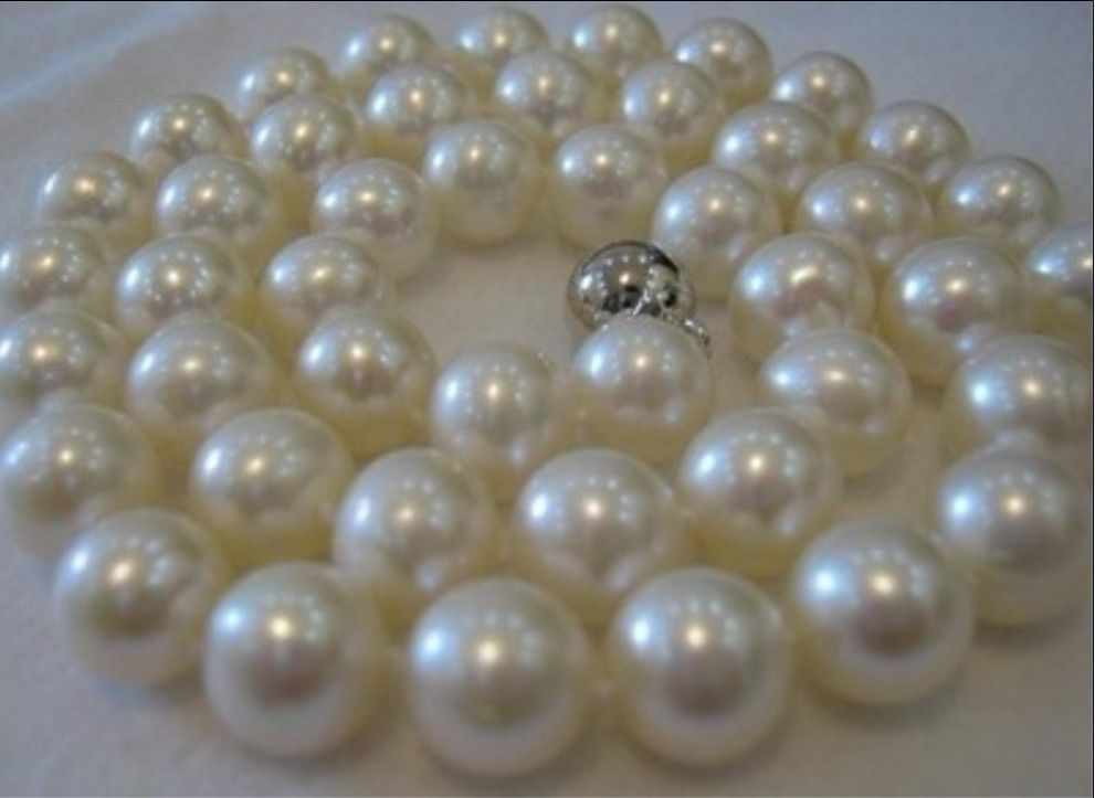 FREE SHIPPING AAAA 9-10MM SOUTH SEA WHITE PEARL NECKLACE 18 INCH +AAA цена и фото