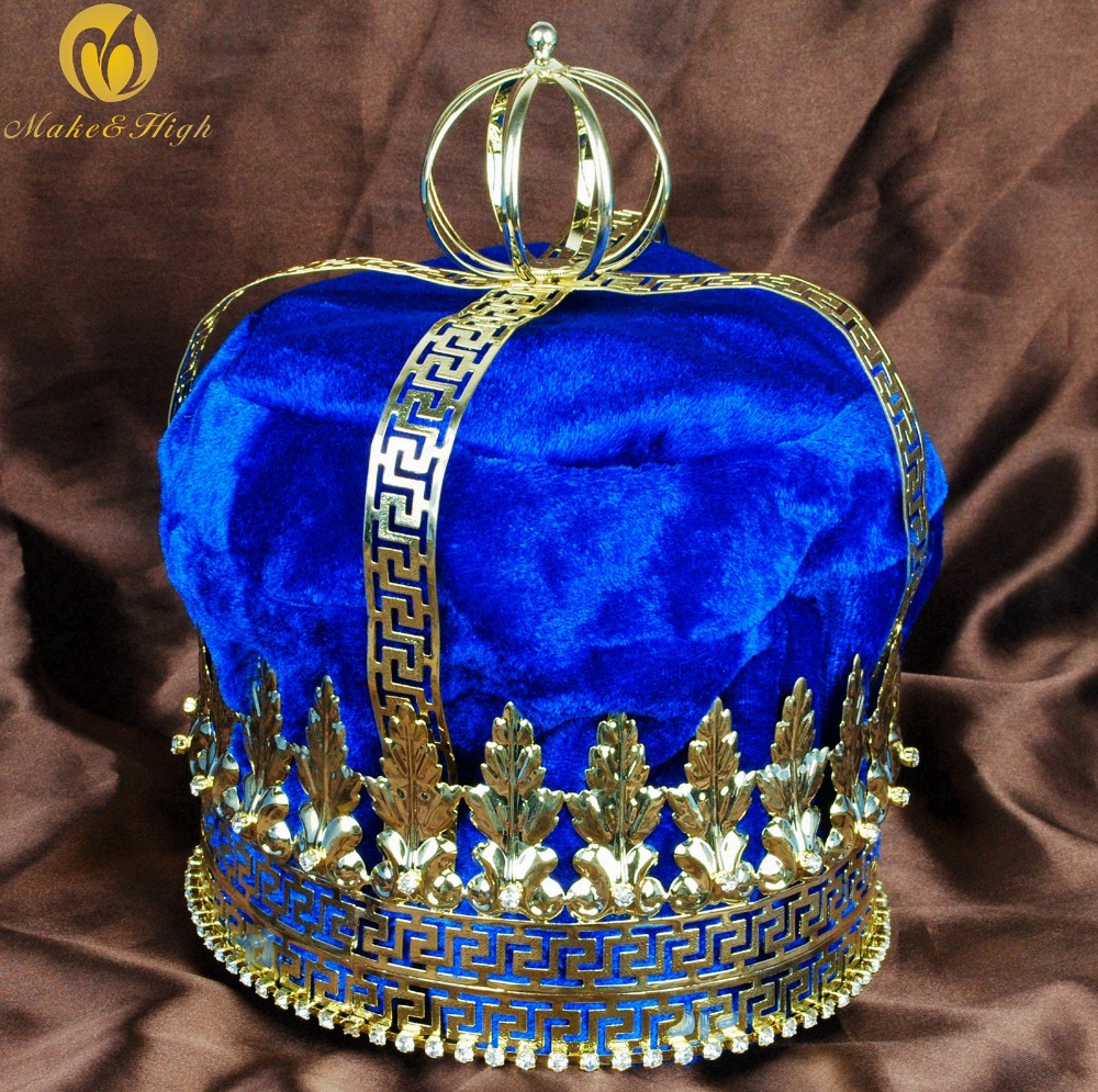 Men 9 Gold Tiara Large Diadem Emperor King Royal Blue Velvet Crown Austrian Rhinestone Parade Pageant Party Costumes