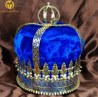 Men 9 Gold Tiara Large Diadem Emperor King Royal Blue Velvet Crown Austrian Rhinestone Parade Pageant Party Costumes