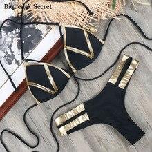NEW Beachwear Women Black Bandage Bikini Biquini 2018 Gold Bra Push Up Swimsuit Swimwear Sexy Halter Plus Size Bikinis Monokini