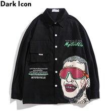 Dark Icon Printed Hip Hop Shirt Men Long Sleeve Turn-down Collar Street Dance Men's Shirt 3 Colors icon sleeve page 3