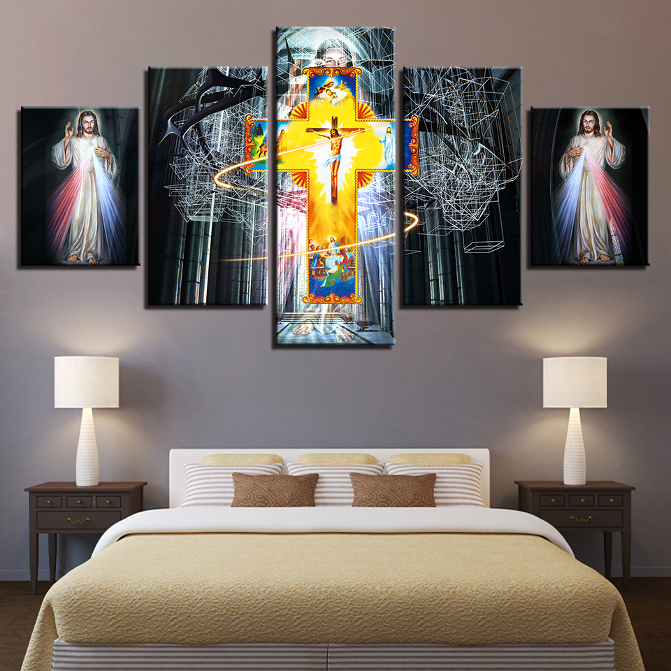 Canvas Poster Home Decor Wall Art 5 Pieces Jesus Painting