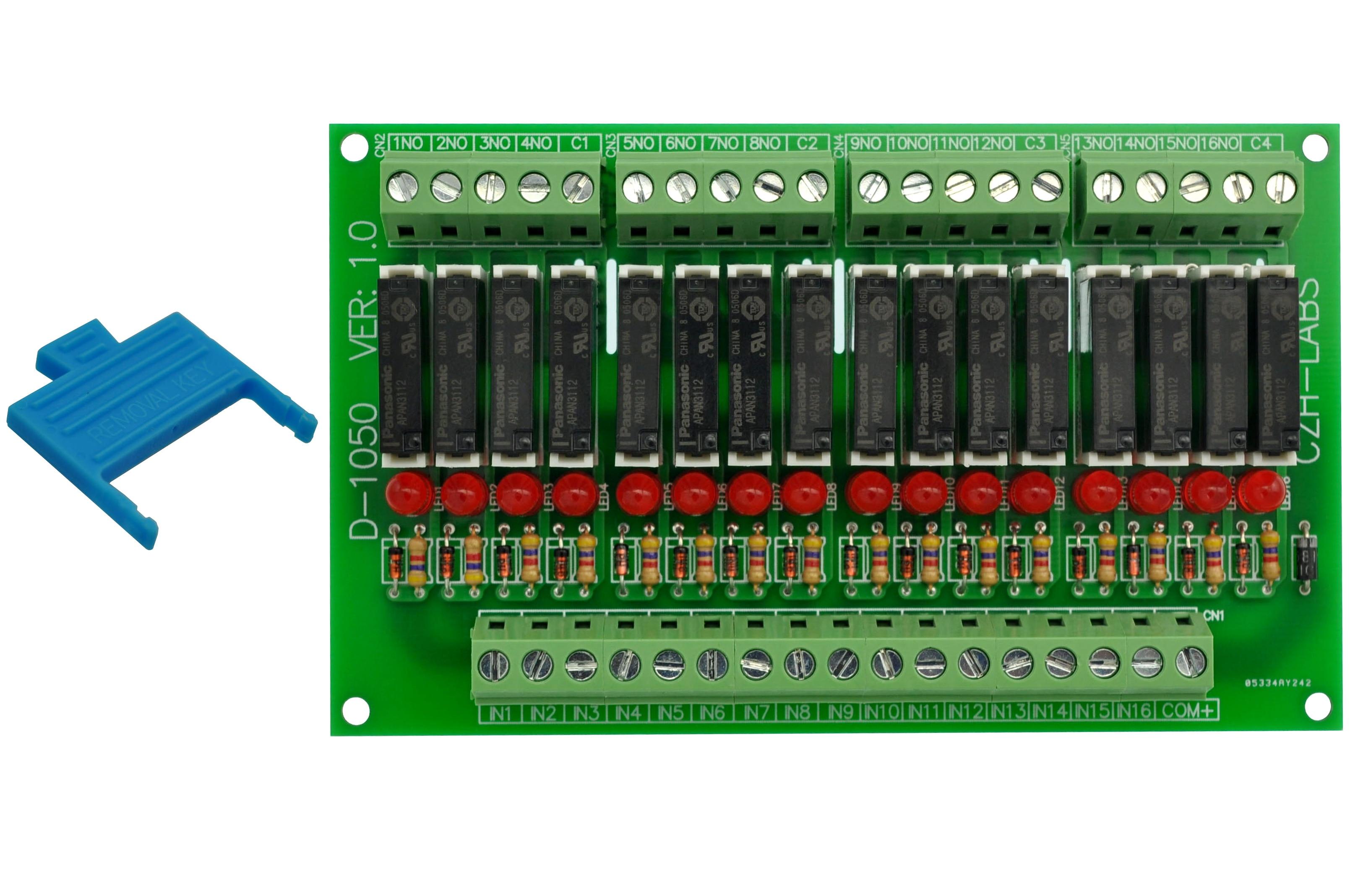 Slim Panel Mount DC12V Sink/NPN 16 SPST-NO 5A Power Relay Module, APAN3112
