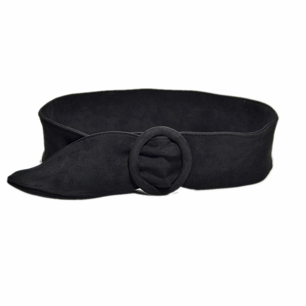 Hot Women Solid Color Suede Ring Buckle Waistband Belt For Jeans Dress