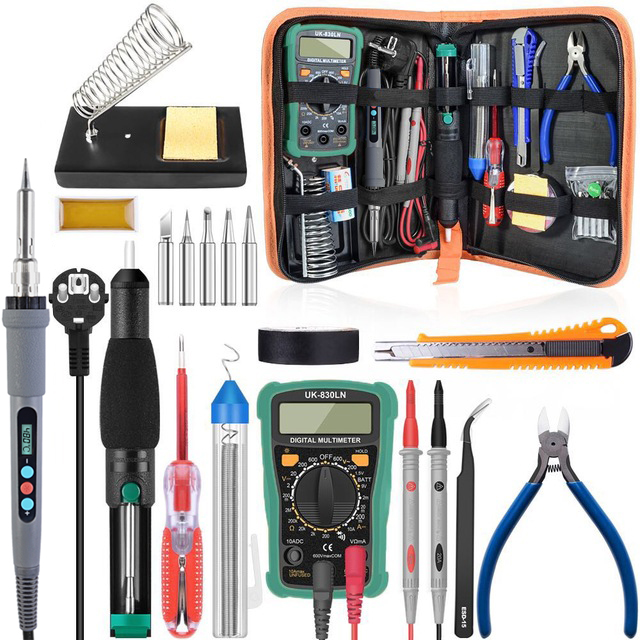60W/90W 110/220V Adjustable Temperature Soldering Iron Kit Digital Multimeter Soldering Tips Desoldering Pump Cutter Solder Wire-in Electric Soldering Irons from Tools