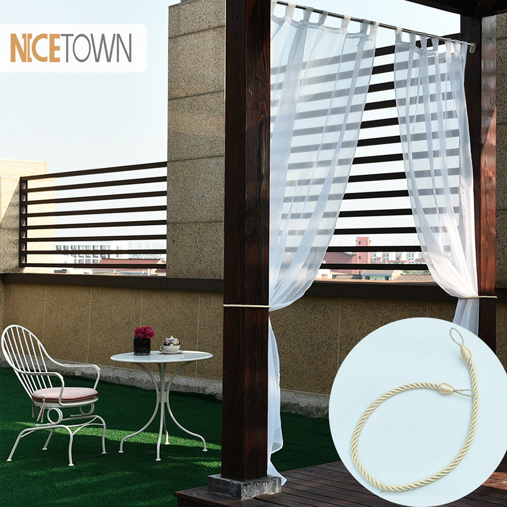 1 Panel Outdoor White Sheer Curtains 84 Inches Long Grommets Top