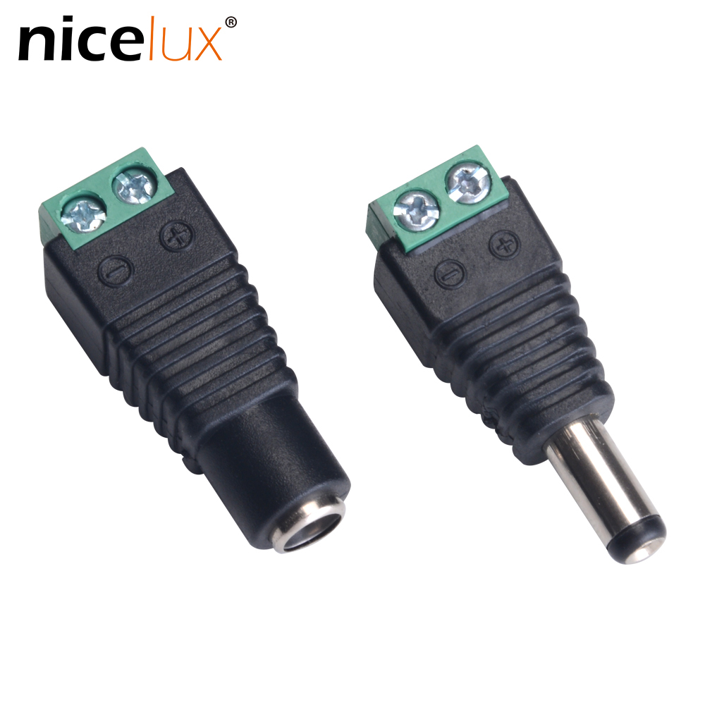 цена на Female Male DC Power Jack Connector Crimp Terminal Block Plug Adapter for 2pin 5050 3528 Single Color LED Strip CCTV Camera Wire