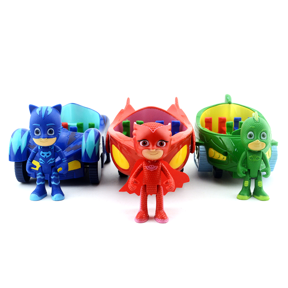 3PCS/set PJ Figure Mask Led Light & Sound Car 15cm Catboy Owlette Gekko Pjmasksed Anime Action Figures Toys For Childrens Gifts pj cartoon pj masks command center car parking toy lot car characters catboy owlette gekko masked figure toys kids party gift