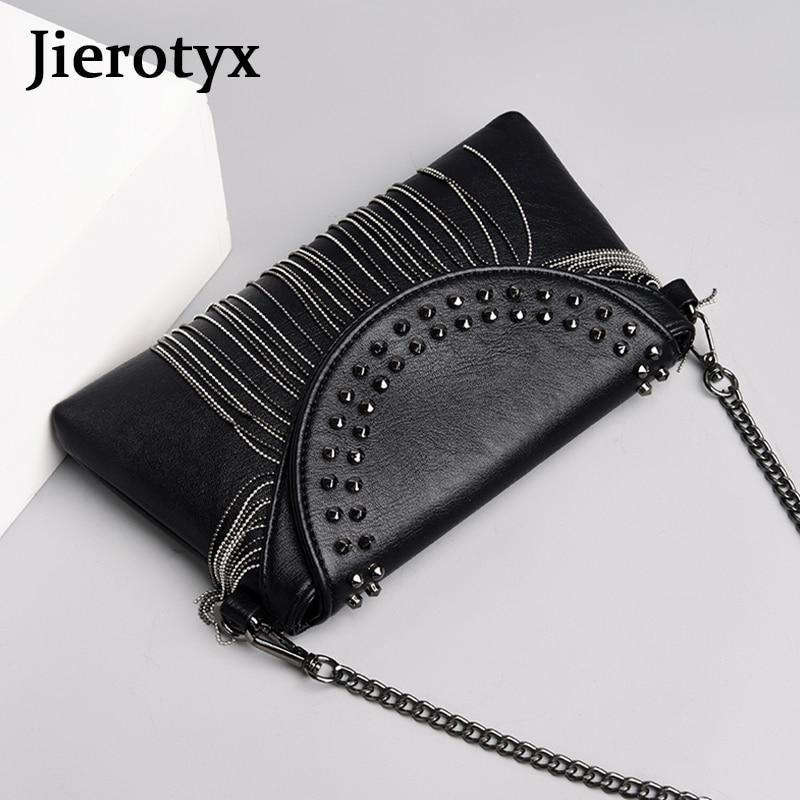 JIEROTYX Fringed Woman Crossbody Bag Black Leather Lady Shoulder Bags Cute Designer Luxury Handbags Women Bags Rivet Punk Style in Top Handle Bags from Luggage Bags