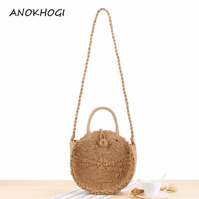 Vintage Handmade Round Paper Rope Beach Bag Mini Women Crossbody Circle Straw Bag Bohemia Rattan Woven Shoulder Bags B62