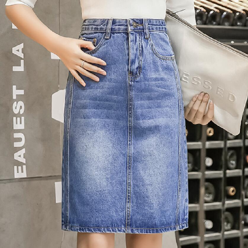 147d79c34 Women Summer Skirts Saias Plus Size Casual Jeans Skirt Ladies Denim Pencil  Skirts S-4XL