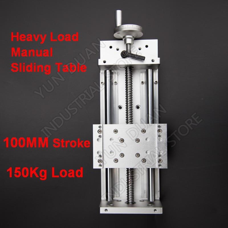 100MM Stroke 150KG heavy load Manual precision Milling Sliding Table Slide Linear Stage SFU1605 C7 Ball screw SBR Guide platform