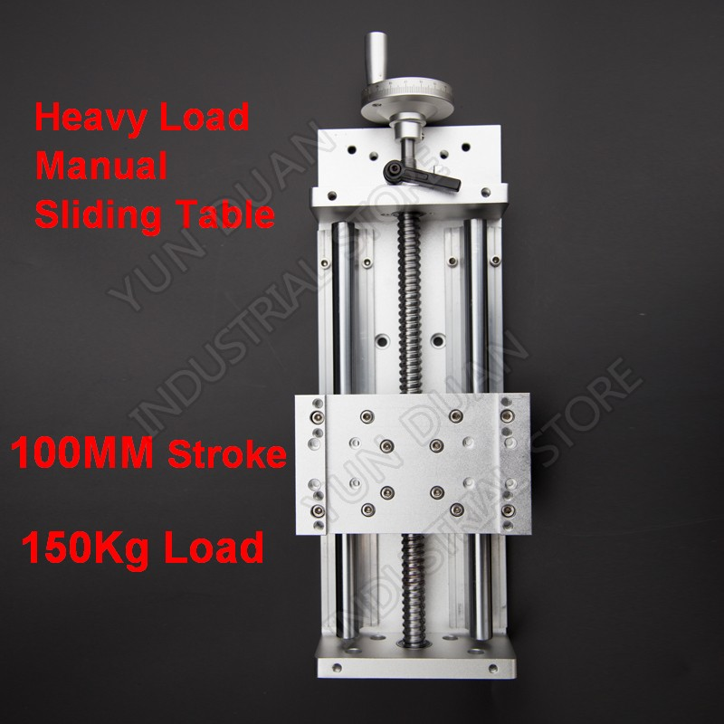 100MM Stroke 150KG heavy load Manual precision Milling Sliding Table Slide Linear Stage SFU1605 C7 Ball screw SBR Guide platform100MM Stroke 150KG heavy load Manual precision Milling Sliding Table Slide Linear Stage SFU1605 C7 Ball screw SBR Guide platform