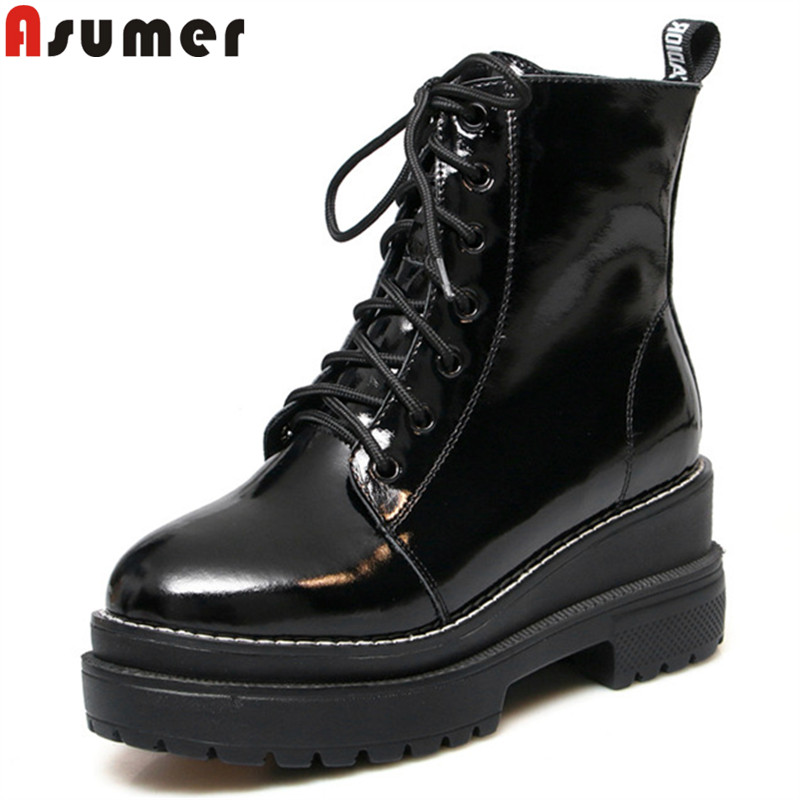 ASUMER black white fashion ankle boots for women round toe lace up genuine leather boots platform classic ladies prom shoes asumer black white fashion spring autumn casual ladies flat platform shoes round toe lace up genuine leather flat shoes women
