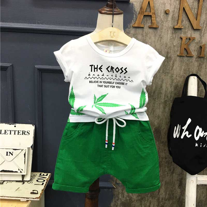 Baby Boys Girls Summer Clothes Fashion Cotton Set Printed Leaf Sports Suit For A Boy T-Shirt + Shorts Children'S Clothing