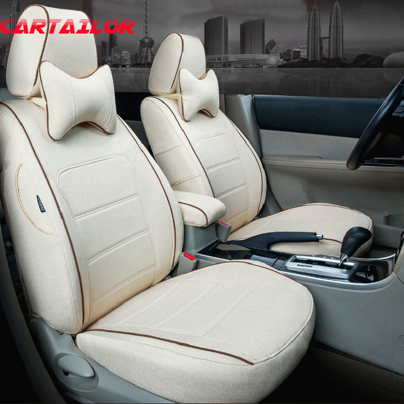 CARTAILOR Full Set Car Seat Cover Protector For Kia VQ Interior Accessories Linen Cloth Covers Supports Auto Cushions