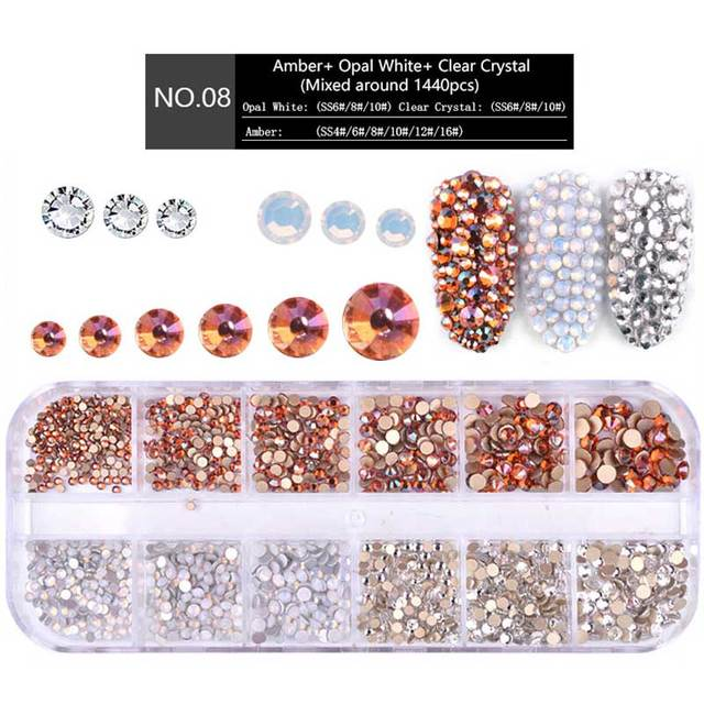 1 Box Multi Size Glass Nail Rhinestones Mixed Colors Flat-back AB Crystal Strass 3D Charm Gems DIY Manicure Nail Art Decorations 5