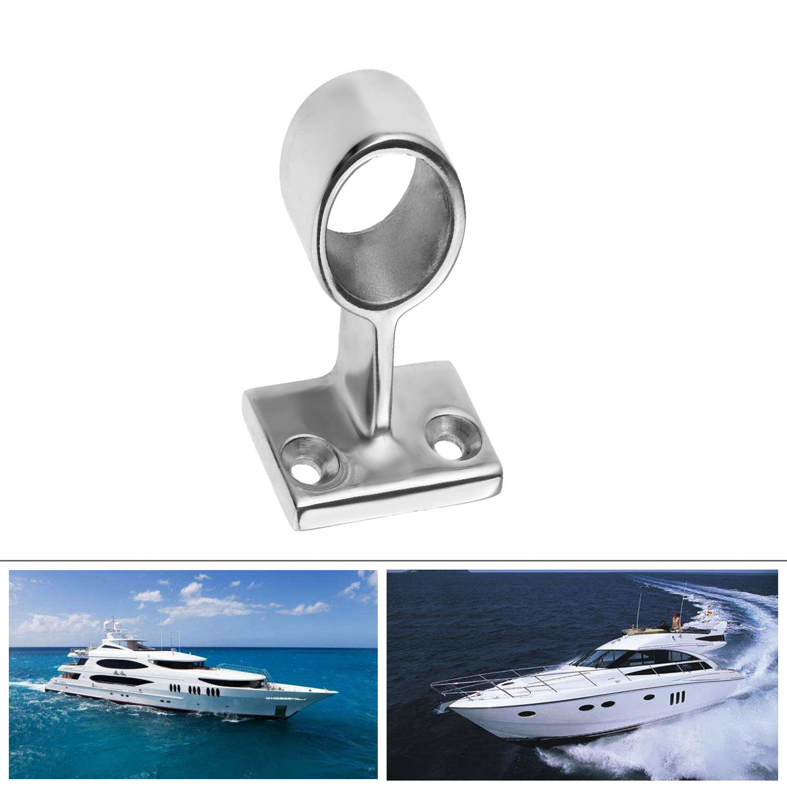 """1PC Fitting 7//8/"""" Center Stanchion 60° Hand Rail 316 Stainless Steel Marine Boat"""