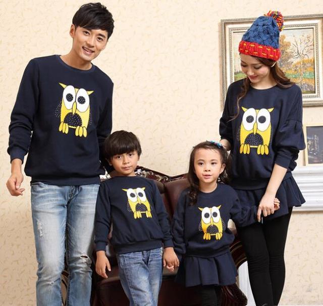 Família da coruja Impressão Camisola Roupas Capuz Topwear + Inferior Vestido for Girls & Boys & Camisolas dos homens Das Mulheres, CHH82