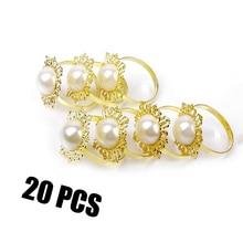 20 PCS Gold Diamond Gem Napkin Ring Serviette Holder Wedding Party Decor Craft New Round Metal Set of Rhinestone