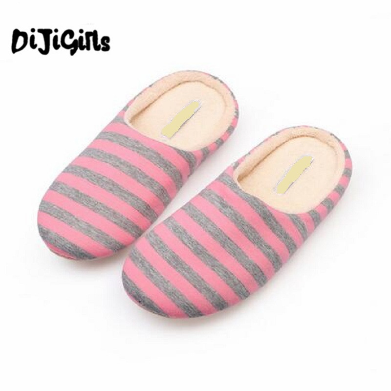 Striped Soft Bottom Home Slippers Cotton Warm Shoes Women Indoor Floor Slippers Non-slips Shoes For Bedroom House home slippers soft plush cotton cute slippers shoes non slip floor indoor house home fur slippers women shoes for bedroom