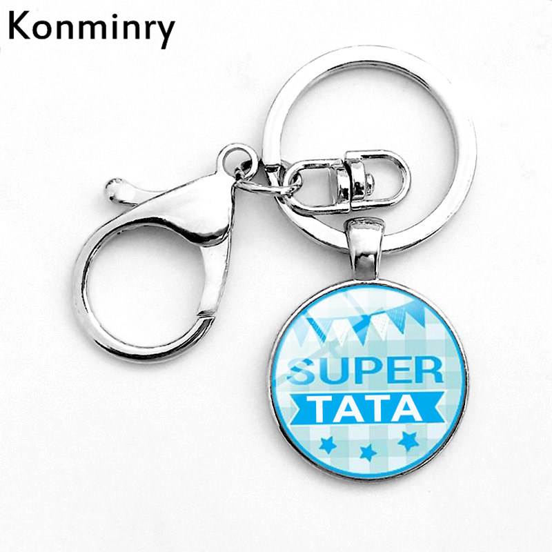 Konminry Hook Meilleur Parrain Glass Keychain Glass Pendant Super Tata Tonton French Letter Art Design Keyring Chain Jewelry