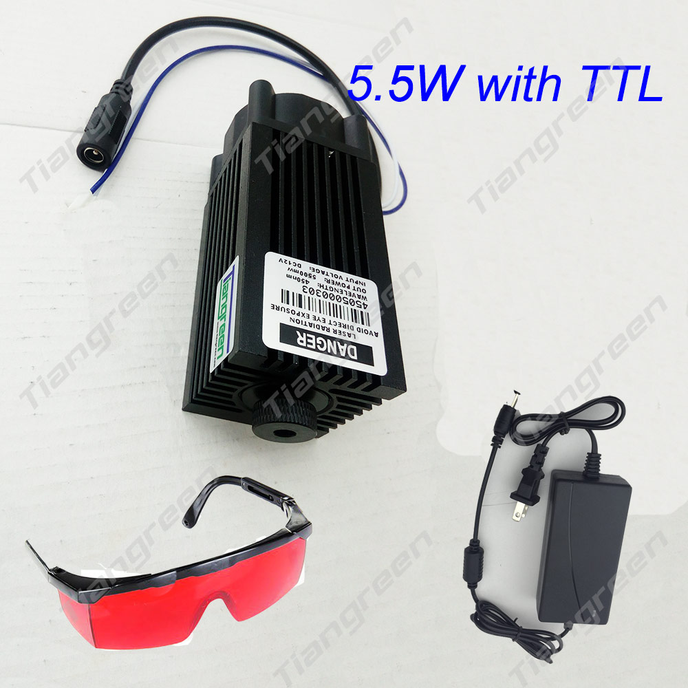5.5W Laser Module 445nm Focusing Blue Laser Head Laser Engraving Cutting TTL Module 450nm 5500mW Laser Tube with Adapter Goggles 5w laser module ttl mini laser engraving machine 445nm 450nm blue laser head with adapter free goggles