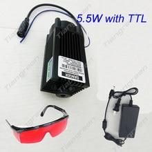 5,5 Watt Lasermodul 445nm Fokussierung Blau Laserkopf Gravur Schneiden TTL Modul 450nm 5500 mW Laserröhre mit Adapter Brille