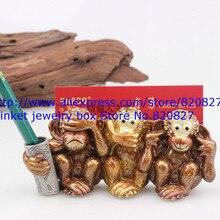 цены Vintage Monkeys Business Cards Holder, Pen Holder, Metal Monkey Crafts, Monkey Trinket Gift