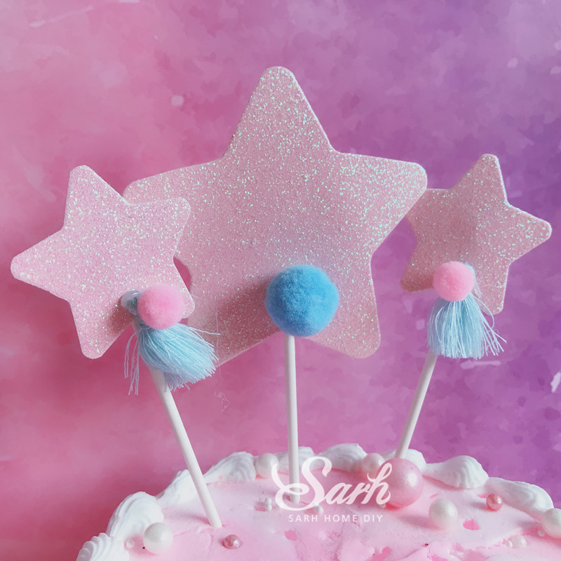 Image 5 - Biling Unicorn Rainbow Star Pom pom Tassel Cake Topper Dessert Decoration for Birthday Party Lovely Gifts-in Cake Decorating Supplies from Home & Garden