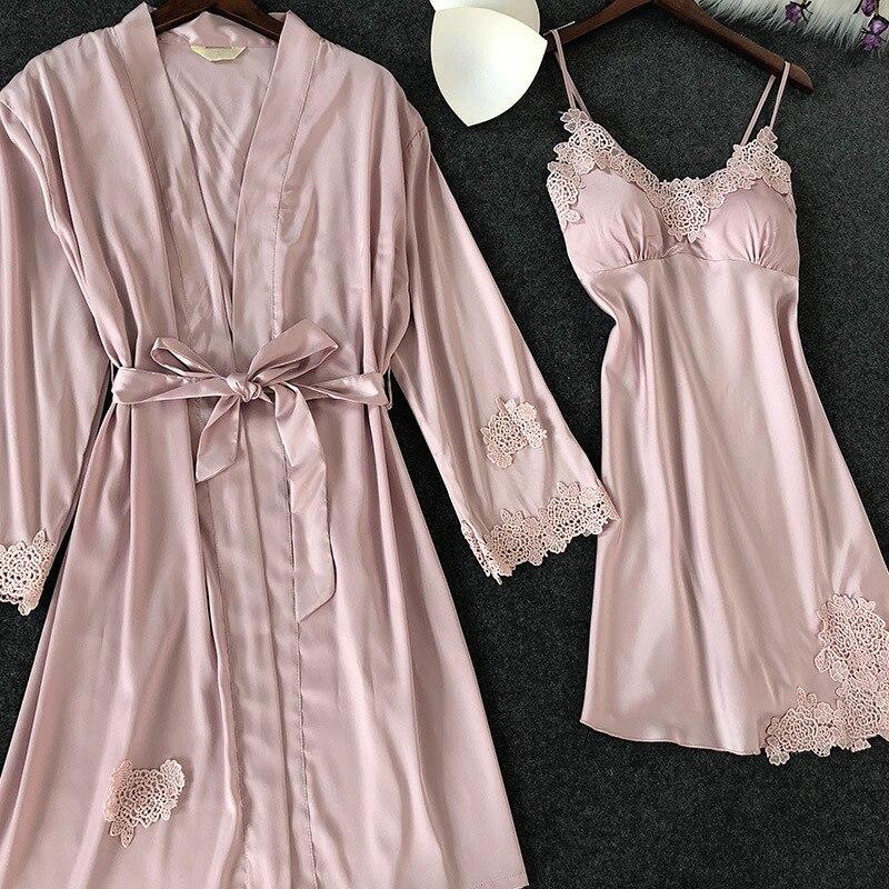 ZOOLIM Women Sleepwear Sexy Lace Robe & Gown Sets Sleep Lounge Nightwear Bathrobe Night Dress Robe Pajamas with Chest Pads