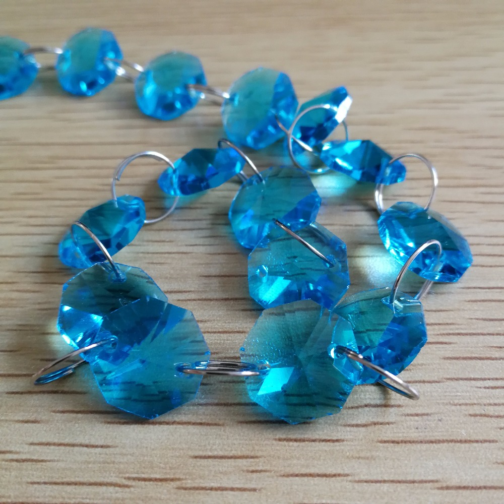 Aquamarine 5Meters 14mm Octagon Chain Wedding Party Crystal Strand Garland Beads Decoration Chandelier Lamp