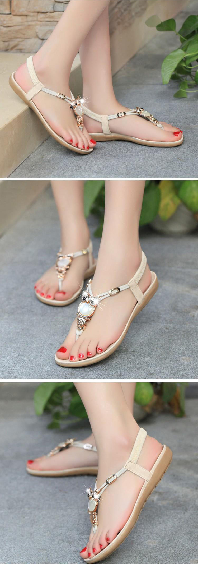 HTB1RDphkNTI8KJjSspiq6zM4FXaj Women shoes 2019 hot fashion women sandals elastic t-strap bohemia beaded owl slipper flat sandals women summer shoes flip flop