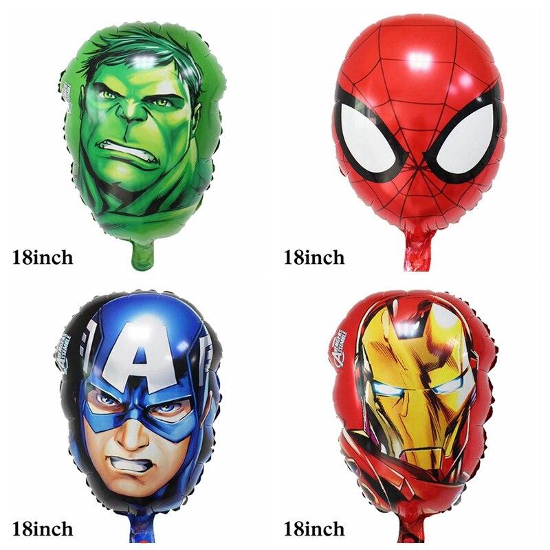 10pcs/lot Avengers helium balloon head style hulk captain ironman Spiderman for kid toys foil