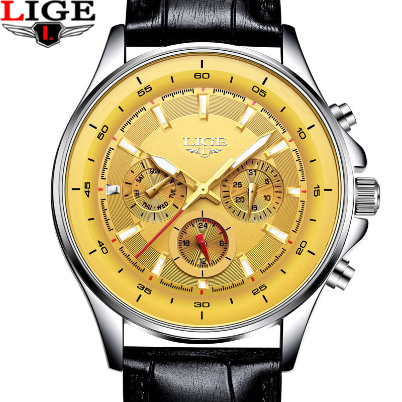 LIGE Top Luxury Brand Chronograph Sport Mens Watches Fashion Military Waterproof Leather Quartz Watch Clock Men Relogio Masculin megir sport mens watches top brand luxury male leather waterproof chronograph quartz military wrist watch men clock saat 2017