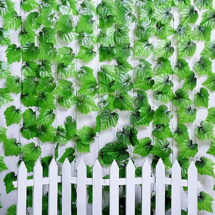 Hot! 2.4M Artificial Ivy Leaf Hanging Garland Flower Vine for DIY Home Wedding Floral Wall Garden Decor VB514 P