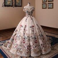 Любовник Поцелуй vestido de novia Романтический вышивка Шампанское Кружева свадебное платье с открытыми плечами светская платья для торжеств Веч