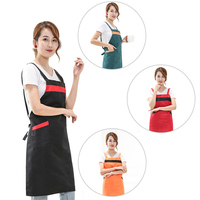 Kitchen Apron Adult Cook Waiter Polyester Stripe Bib Apron With Pocket Chef Waiter Kitchen Cook Tool