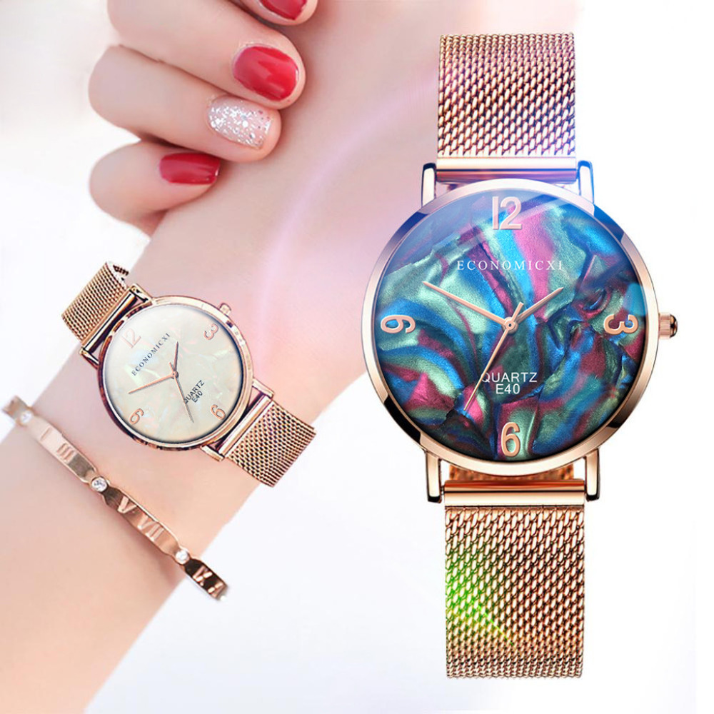 Popular New Ultra Thin Ladies Watch Rose Gold Stainless Steel Mesh Belt Watches Women Quartz Wrist Watch Clock Zegarek Damski #W