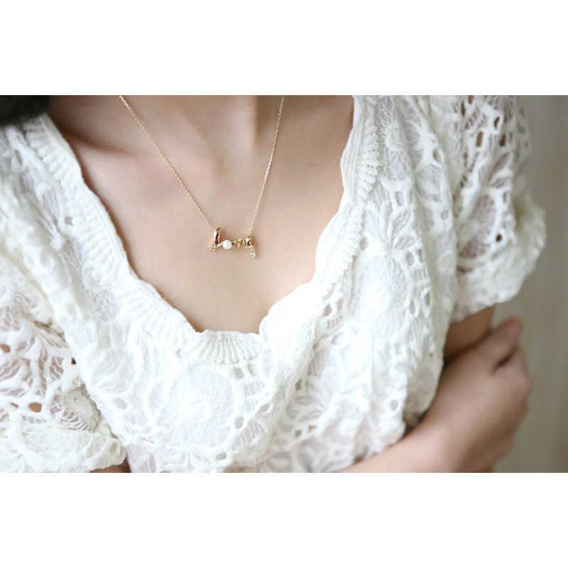 Collar de letras de cadena de Color dorado y plateado de Poputton, collar de mujer con colgante de perlas de diamantes de imitación, joyería 2018