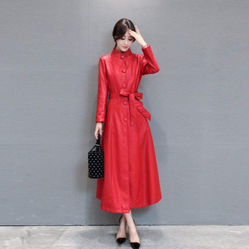 Новое поступление Для женщин Демисезонный Полный рукавами воротник-стойка Однобортный поддельные ПУ кожаные пальто KTR-004