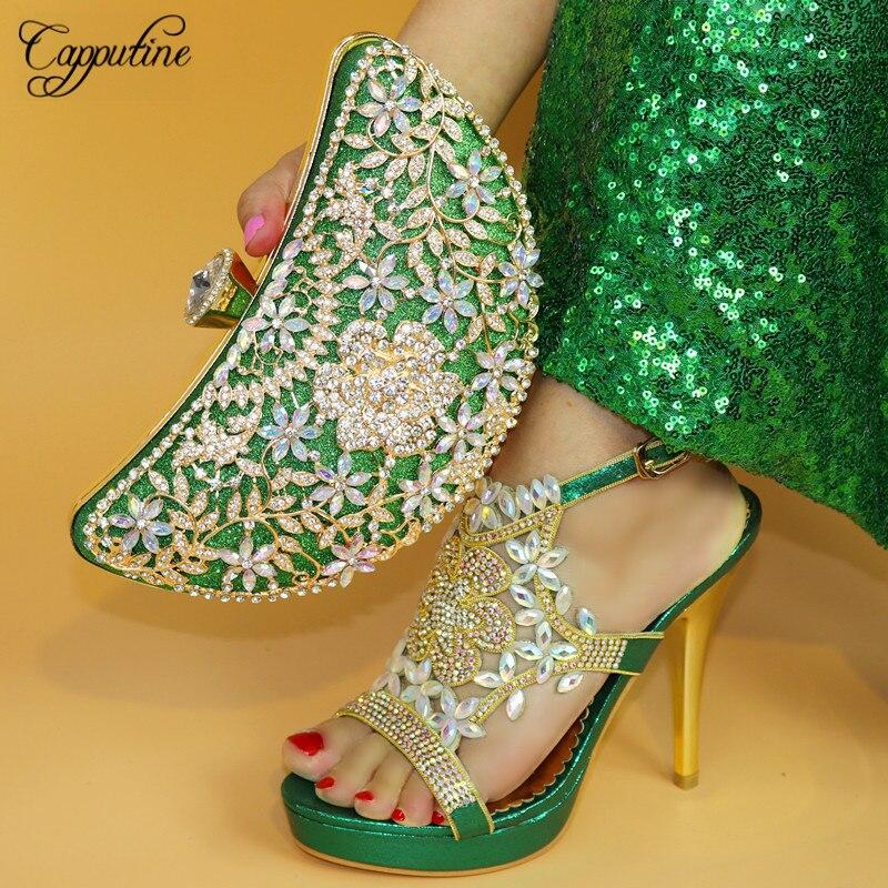Capputine Elegante Verde Colore PU Cristallo Scarpe Italiane Con I Sacchetti di Corrispondenza di Alta Qualità Partito Africano Scarpe E Borse Set TX-864