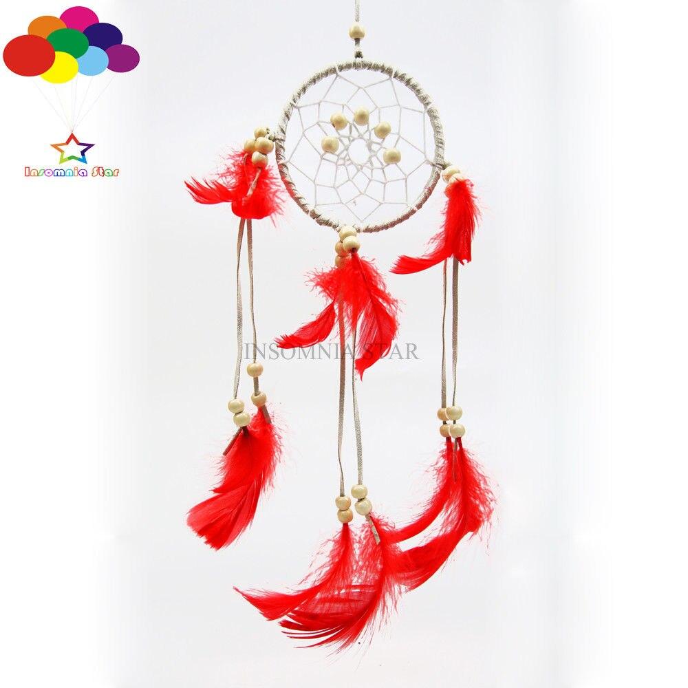 Boho Stijl Diy Dream Catcher Circulaire Rode Ganzenveren Muur Opknoping Decoratie Bekwame Productie